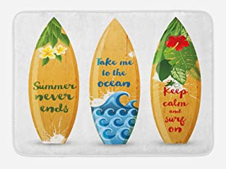 Lunarable Vintage Hawaii Bath Mat, Wooden Surfboards with Words About Summer Ocean and Swimming Flower Design, Plush Bathroom Decor Mat with Non Slip Backing, 29.5