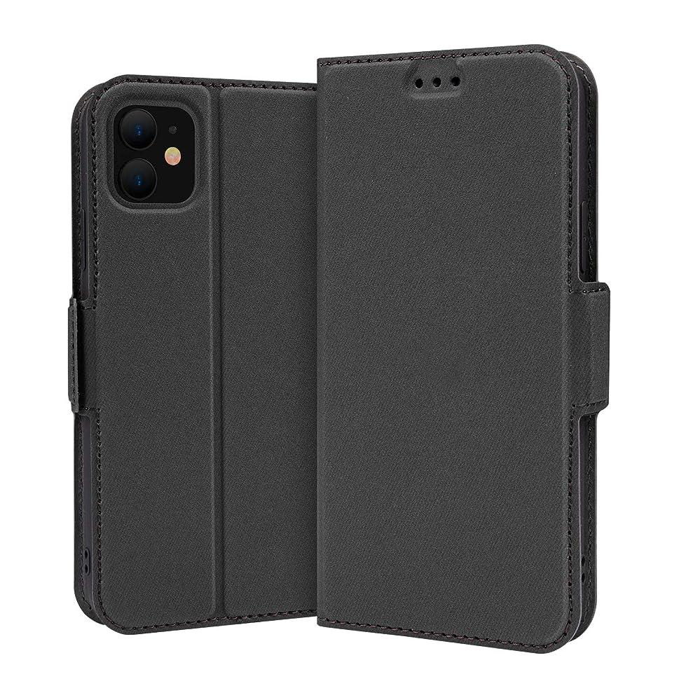 すずめ公爵脆いNimaso iPhone 11 ケース 手帳型 カード収納 スタンド機能 衝撃吸収 マグネット式 qi充電対応 6.1インチ 耐衝撃 全面保護 ストラップホール付き(ブラック)