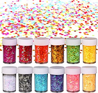 Multicolor Manicure Glitter Star Confetti for Party Decoration (12 Pack) – Star Table Confetti Party Supplies (180g) for Nail Art Polish Wedding Twinkle Twinkle Little Star Baby Shower