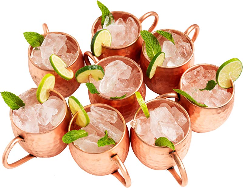 Kitchen Science Moscow Mule Hammered Copper 16 Ounce Drinking Mug Set Of 8 8