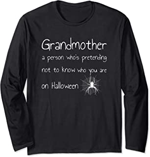 Funny Halloween Grandmother Definition Outfit Spider Design Long Sleeve T-Shirt