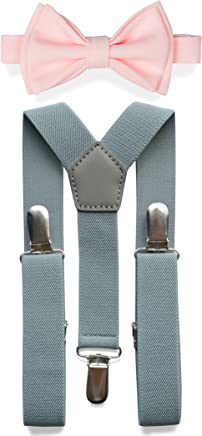 0989d5e49ffc Light Grey Suspenders Bow Tie Set for Baby Toddler Boy Teen Men || Weddings  Prom