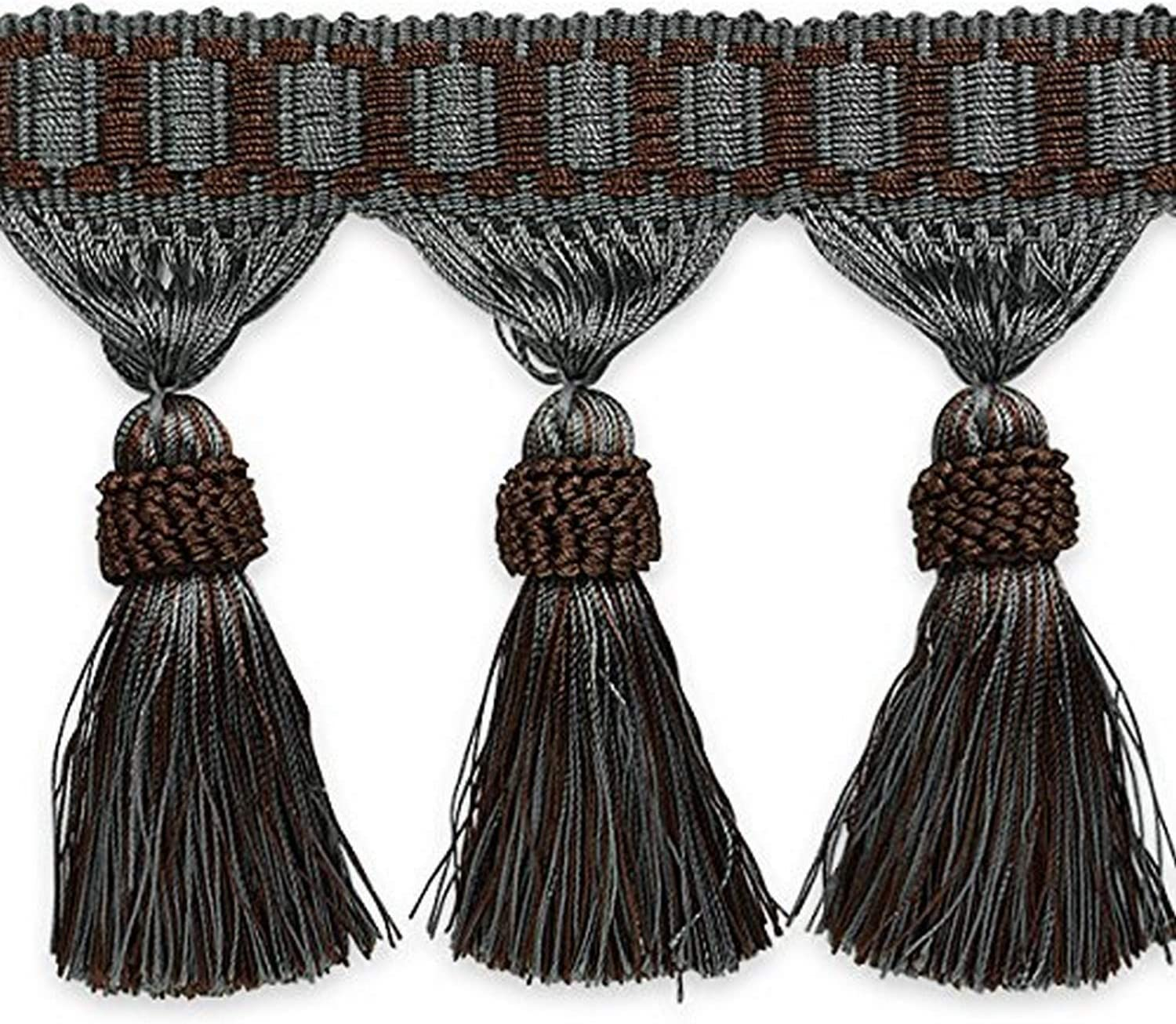 Expo International In a popularity Tassel Fringe Beauty products Trim Multicolor 10 yd Pewter