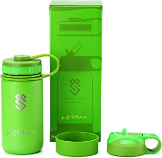 Summit Kids 14 oz Water Bottles, Insulated Stainless Steel Metal Bottle, Silicone Sleeve & 2 BPA Free Plastic Lids, Use as a Tumbler, Sippy Cup, Thermos or Kids Canteen for Boys & Girls