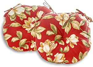 South Pine Porch AM5816S2-ROMAFLORAL Roma Floral 15-inch Round Outdoor Bistro Chair Cushion, Set of 2, Dark Red