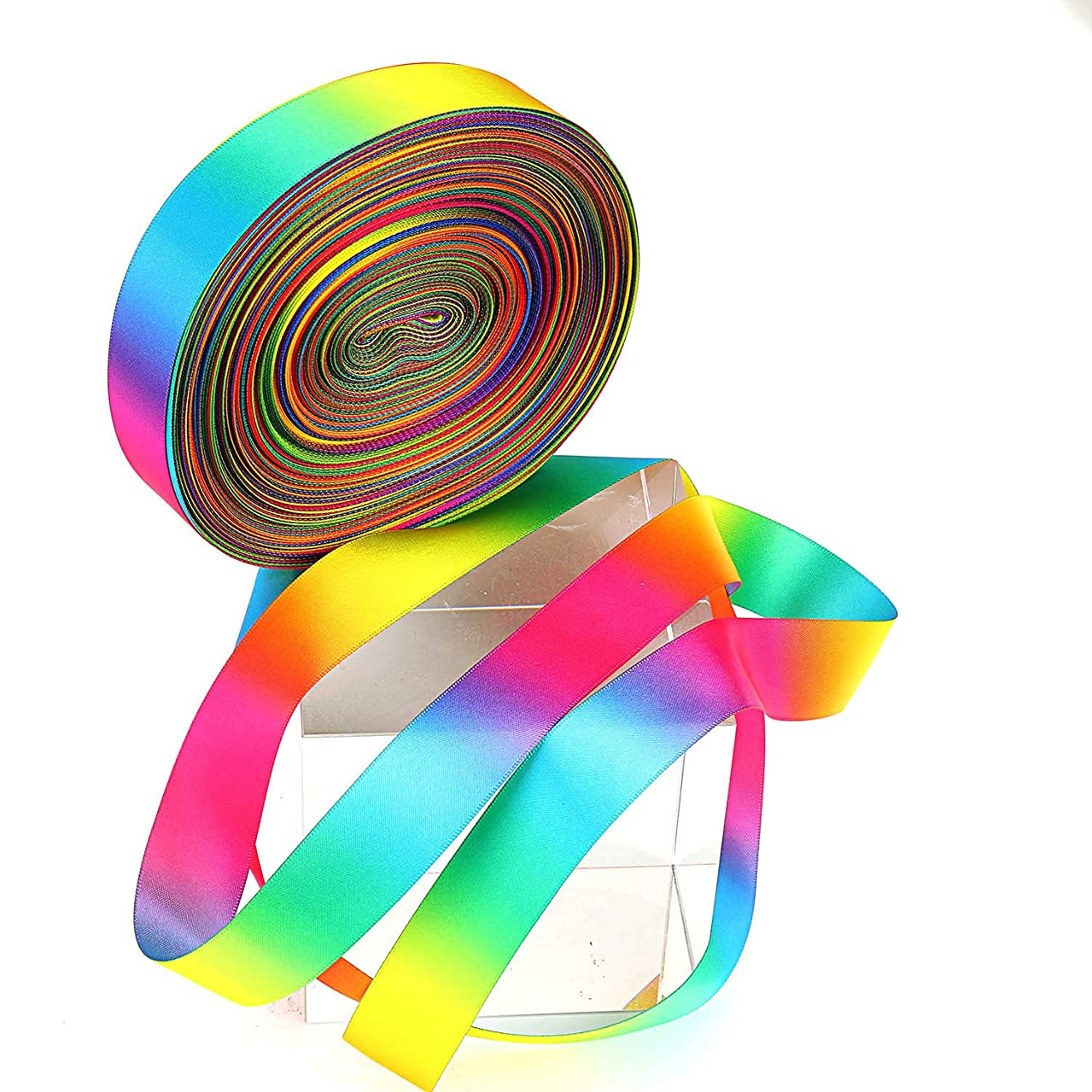 Molshine 50yd 1-inch Colorful Solid Double Face Satin Ribbon for Handcraft -Seven Color