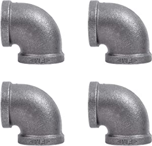 PIPE DÉCOR 1 in. Black Malleable Iron 90 Degree Elbow, 4 Pack, for DIY Pipe Furniture Building and Regular Plumbing Applications