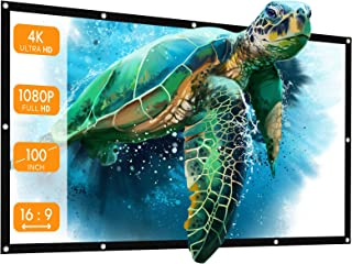 Projector, APEMAN Projector Screen 100 inch 16:9 HD Foldable Anti-Crease, Portable Projection Movies Screen for Home Theat...