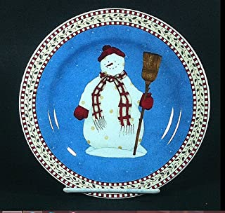 Sakura Snowman with Broom Salad Plate Debbie Mumm