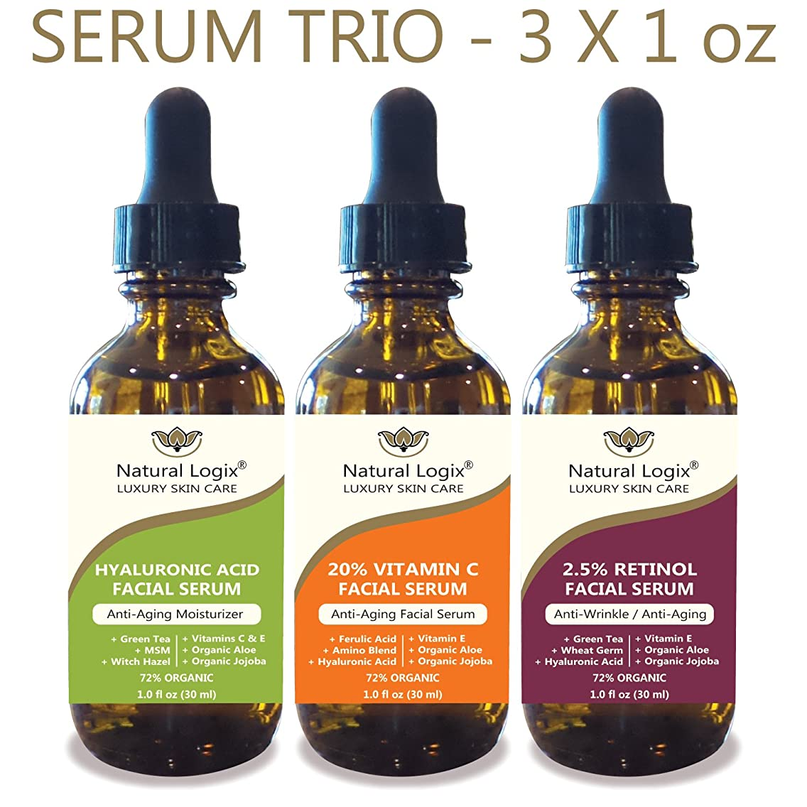 Natural Logix 3 Bottle Serum Set – Natural Logix Anti-Aging Serum Trio - 20% VITAMIN C (1oz) | 2.5% RETINOL (1oz) | HYALURONIC ACID (1oz), Fade Dark Spots, Evens Skin Tone, 3 X 1 oz