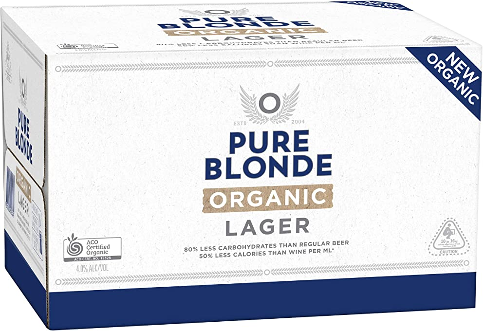 Pure Blonde Organic Lager Beer Case 24 x 330mL Bottles