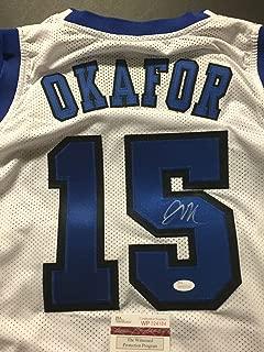 Autographed/Signed Jahlil Okafor Duke White College Basketball Jersey JSA COA