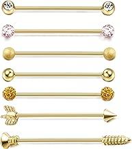 ORAZIO 7PCS 14G Stainless Steel Industrial Barbell Earrings for Women Men Cartilage Helix Piercing Jewelry 1 1/2 Inch(38mm)