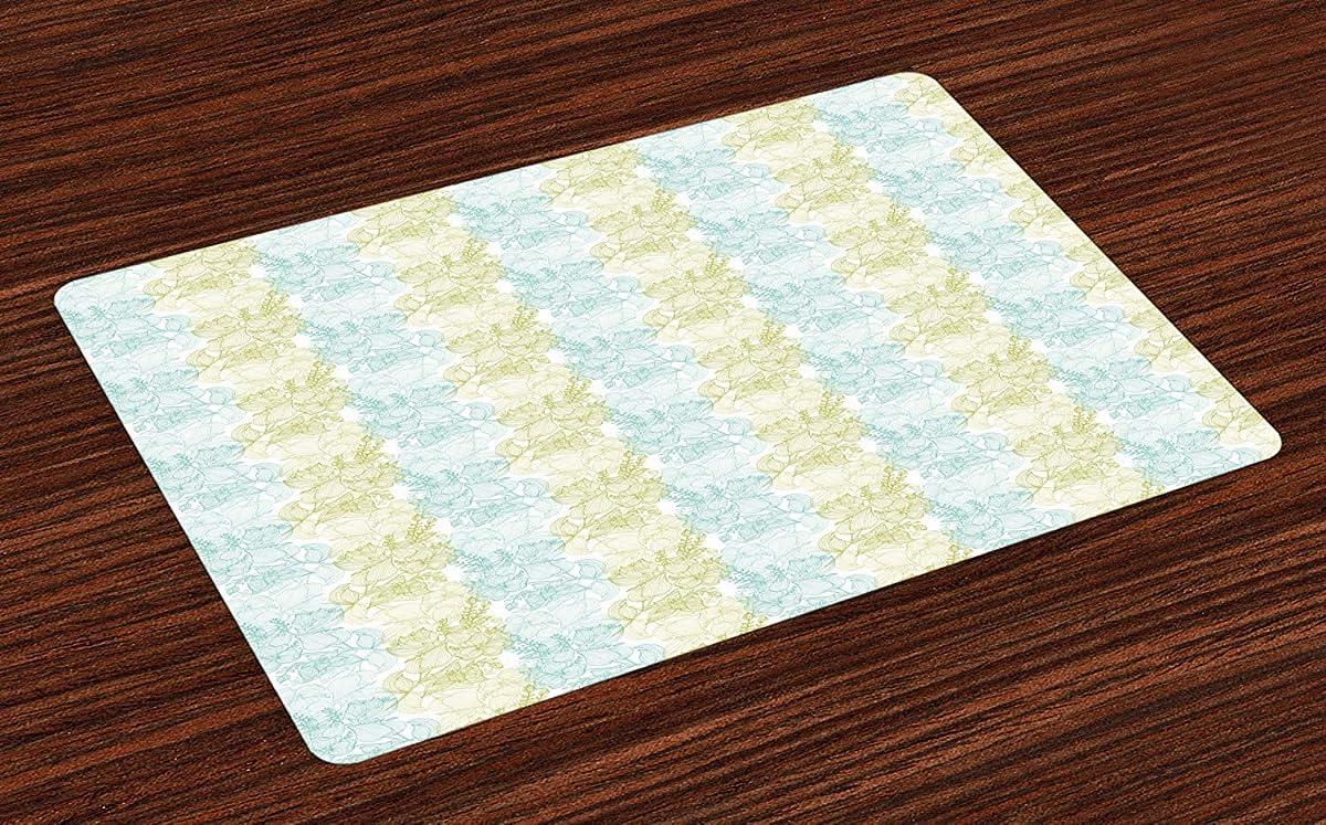 Floral Non-Slip Doormats Welcome Mat Accent Area Rug, Line Art Green and Blue Soft Pastel Flowers Motif English Garden, Indoor Bathroom Mat Shoes Scraper Floor Cover Mat, 20''x31.5''