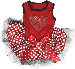 Petitebella Sequins Heart Red Shirt Red Polka Dots Tutu Puppy Dog Dress
