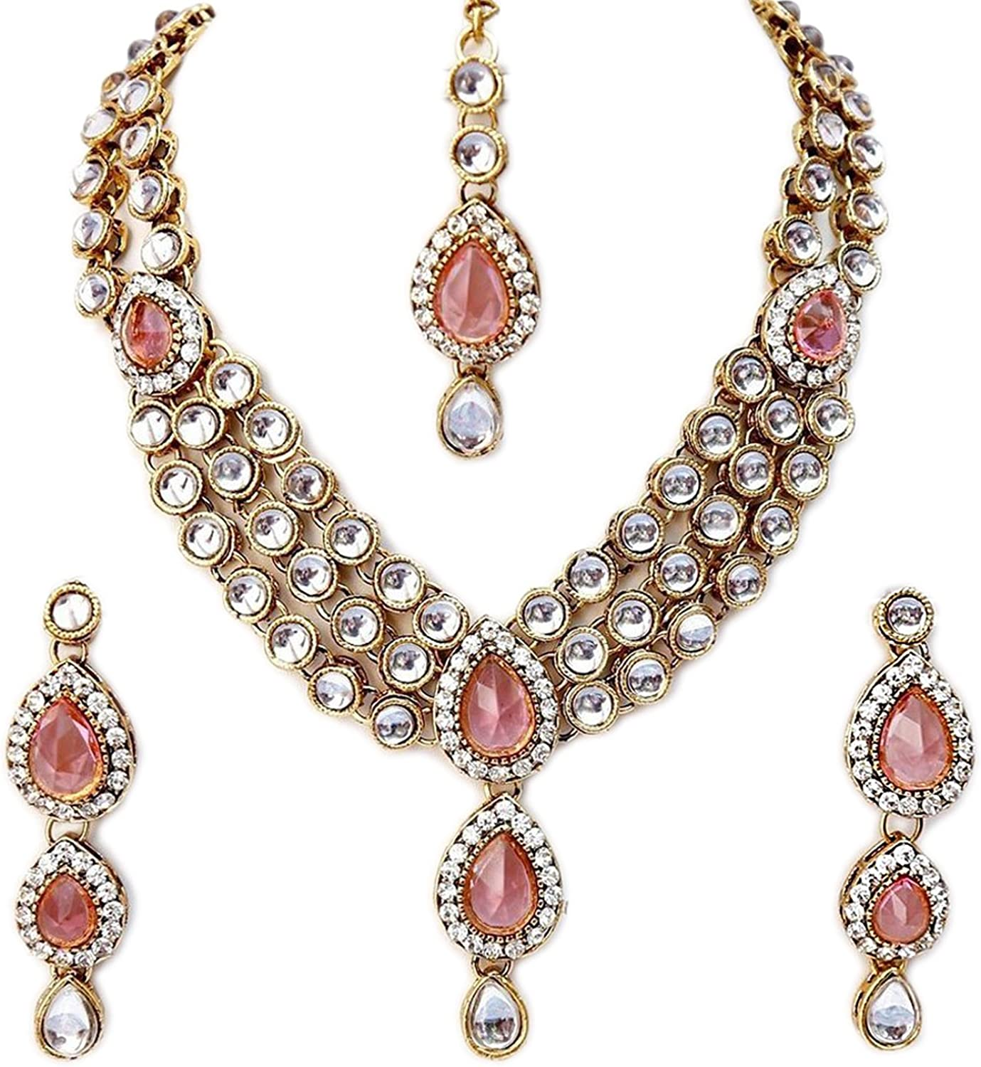 I Jewels Indian Bollywood Gold Plated Kundan Jewelry Set for Women (IJ315)