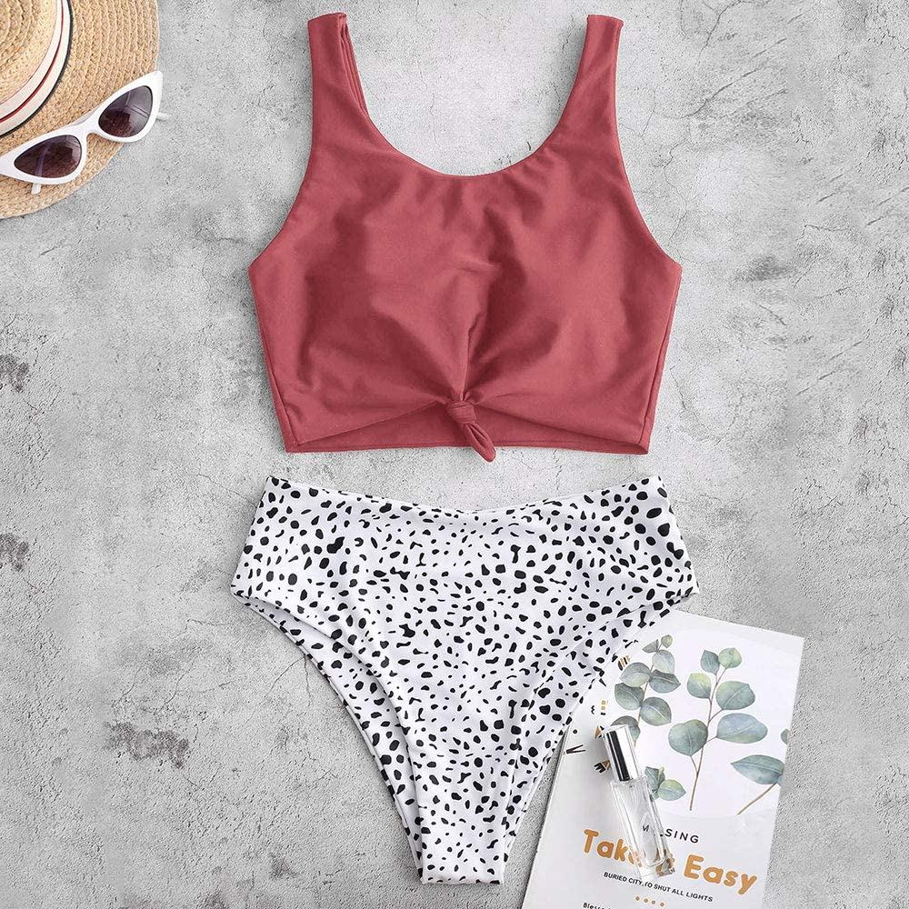 ZAFUL Women's High Waisted Bikini Scoop Neck Swimsuit Two Pieces Bathing Suit