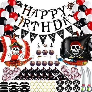 98 Stücke Piraten Geburtstag Party Dekoration, Piraten Banner Luftballons Schnurrbärte Cupcake Topper Kapitän Augenklappen Bandana Aufblasbares Schwert Kunststoff Gold Ohrring für Piraten Party