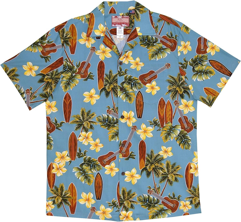 RJC 5X Big Mens Plumeria Ukulele Surfboard Hawaiian Shirt