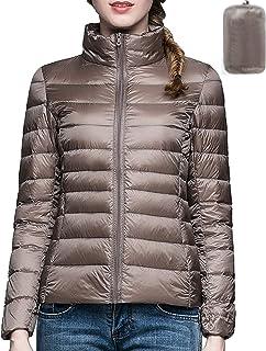 معطف للنساء يمكن حزمه لأسفل خفيف للغاية دافئ بياقة واقفة سترة نفخ