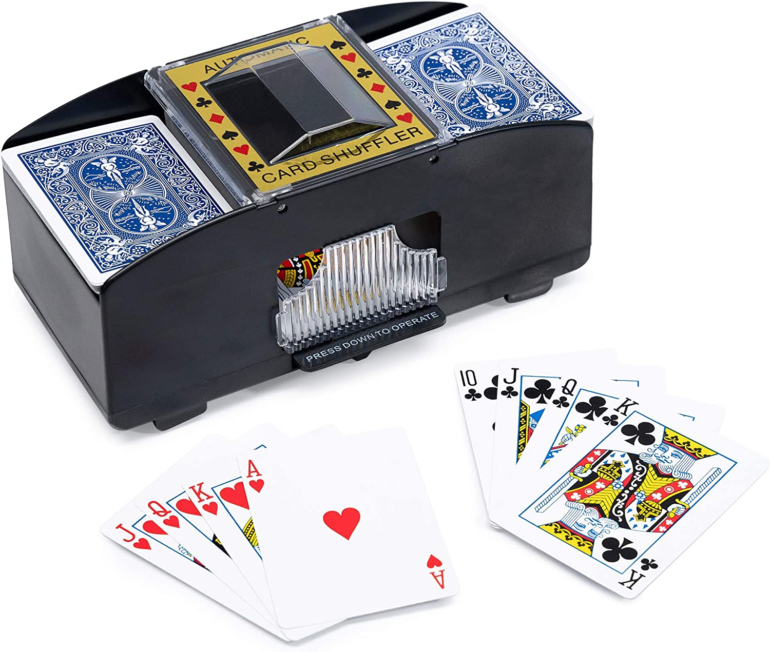 WYZworks Casino Department store 2 Deck Automatic Award-winning store no Playing Cards Shuffler Card