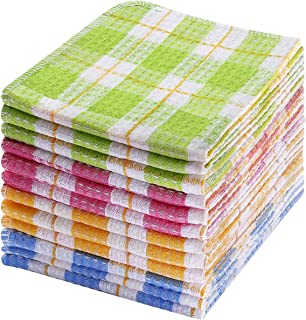 TNYKER Kitchen Dish Cloths, 12pcs 14 x 16 Inches, 100% Cotton Windowpane Dishcloths, Super Soft and Absorbent Dish Rags fo...