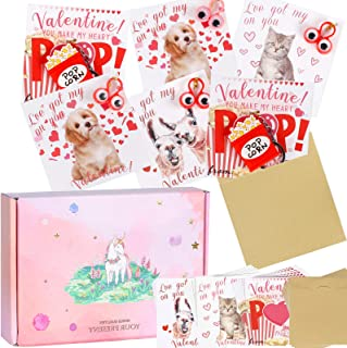 96 PCS Valentine's Day Greeting Cards Eyes Toy Set for Kids, Dog Cat Popcorn Cards Keep Eyes on You with Envelopes Finger ...