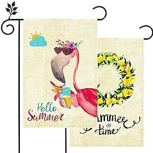 2 Pack Hello Summer Flamingo Lemon Wreath Small Garden Flag Vertical Double Sided 12.5 x 18 Inch Floral Beach Burlap Yard Outdoor Decor
