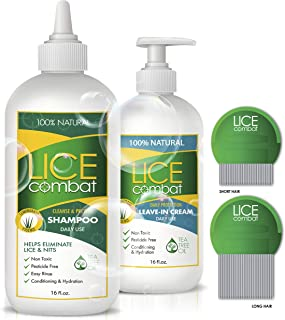 Lice Treatment Kit | Shampoo, Repellent Leave-in Cream & Two Combs | Kills Lice, Super Lice & Nits | Repels & Prevents | P...