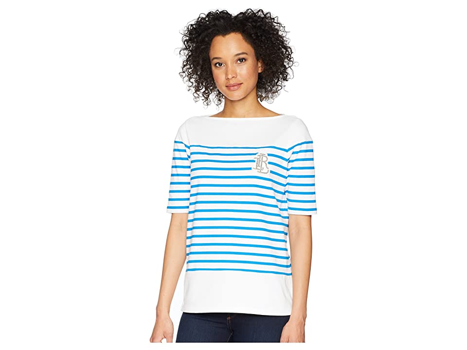 LAUREN Ralph Lauren Striped Cotton T-Shirt (Soft White/Vivid Cyan) Women