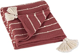 DII Striped Throw Collection Cotton Slub, Hand-Tied Tassels, 50x60, Clay & Off-White