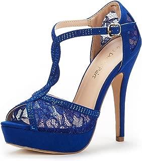 DREAM PAIRS Women's Swan-16 High Heel Fashion Stilettos Peep Toe Pump Heeled Sandals