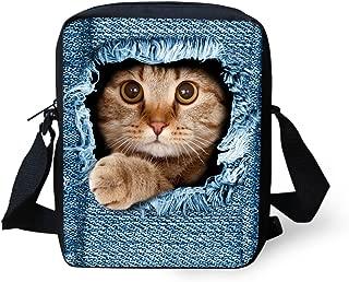HUGS IDEA Cute Denim Pet Cat Printed Women Small Shoulder Handbags School Cross Body Bag