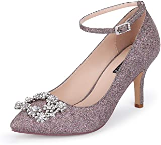Glitter Pumps for Women Pointy Toe Mid Heels Prom Evening...
