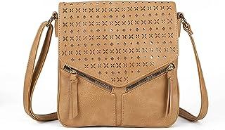 AFKOMST Umhängetasche Leder mittelgroß Shopper für Damen Messenger Bag Vintage Look Handtasche Beutel Tasche Schultertasch...