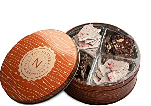 Peppermint Bark Chocolate Elegant Gift , 4 Sectional Gift Tray Peppermint and Nut Crunch Bark Candy