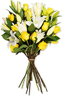 Benchmark Bouquets Yellow Roses and White Oriental Lilies, No Vase (Fresh Cut Flowers)