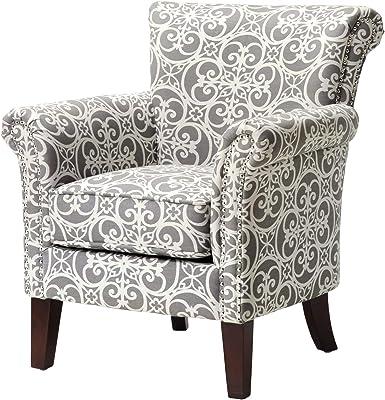 Madison Park Brooke Chair in Doodles Ash, See below below, Grey