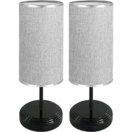 2 Pack Touch Control Bedside Table Lamp Dimmable Nightstand Light Brightness Adjustable Lamp with Fabric Shade for Bedroom Living Room, 4 LED Bulbs Included