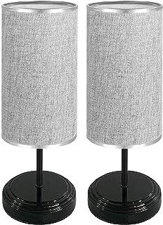 [2 Pièces] Lampe de Chevet Tactile, Rond Bomcosy Lampe de Table Dimmable,DC5V USB Interface, Base Noire avec Abat-jour en ...