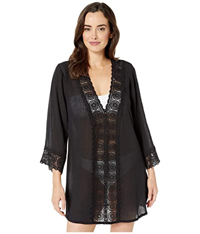 La Blanca Island Fare V-Neck Tunic Cover-Up (Black) Women