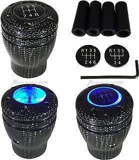 Mega Racer Carbon Fiber Manual Transmission Speed 5 6 Blue LED Light Gear Stick Shift Knob JDM Style Auto Car Shifter Console Lever