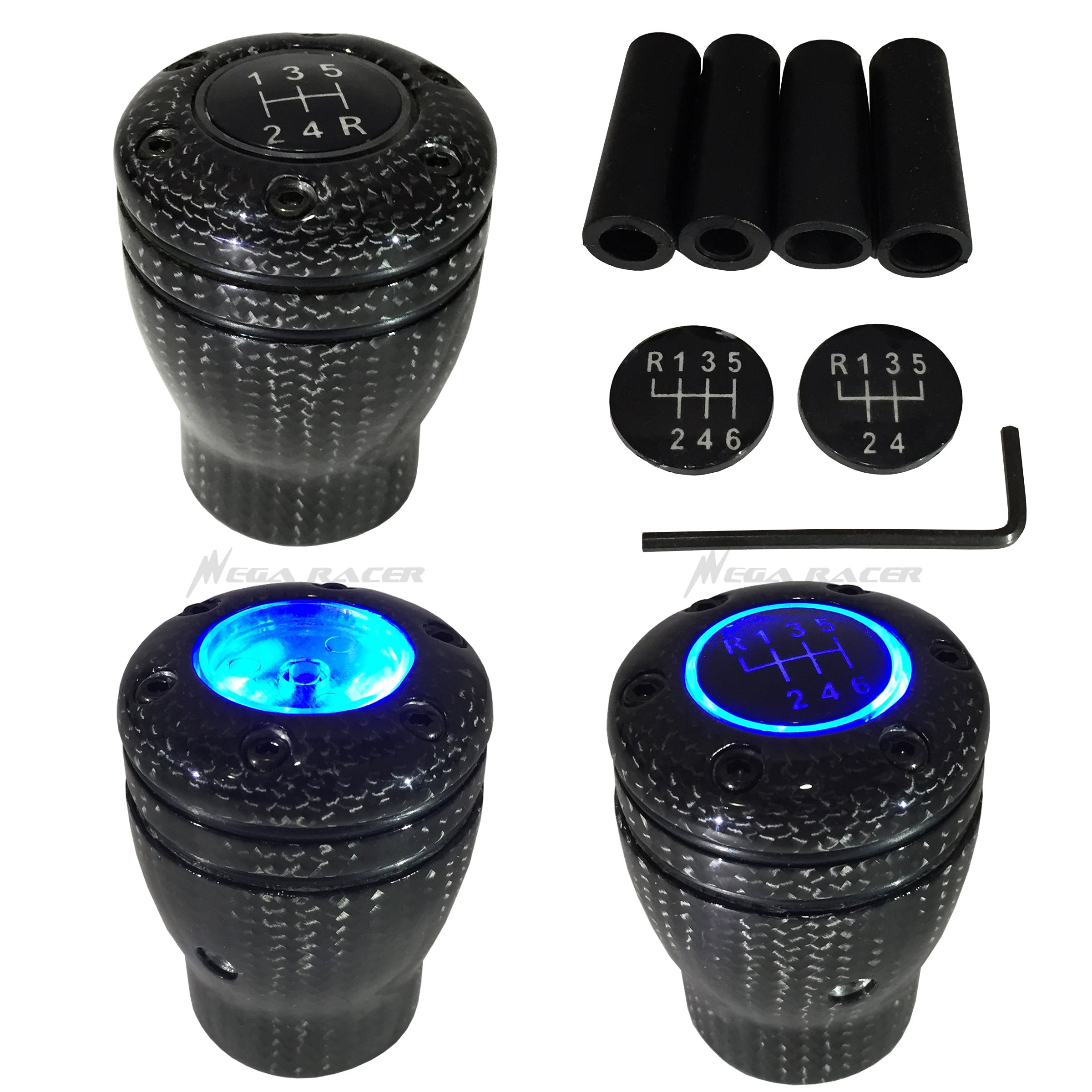 5 and 6 Speed Manual Transmission Vehicles Mega Racer Purple Aluminum Shift Knob for Buttonless Automatic and 4