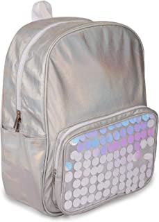 """Moore Iridescent Silver Water Resistant 14"""" Backpack for Boys and Girls, Perfect Size School &Travel Briefcase for Books a..."""