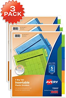 Avery 5-Tab Plastic Binder Dividers, Insertable Multicolor Big Tabs, 3 Sets (11900)
