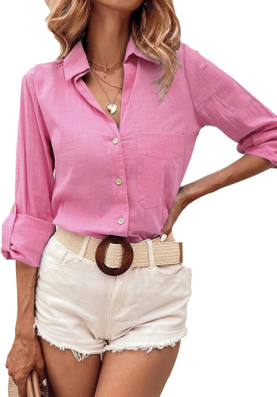 MakeMeChic Women's Button Front Pocket Roll Up Long Sleeve Blouse Shirt Top