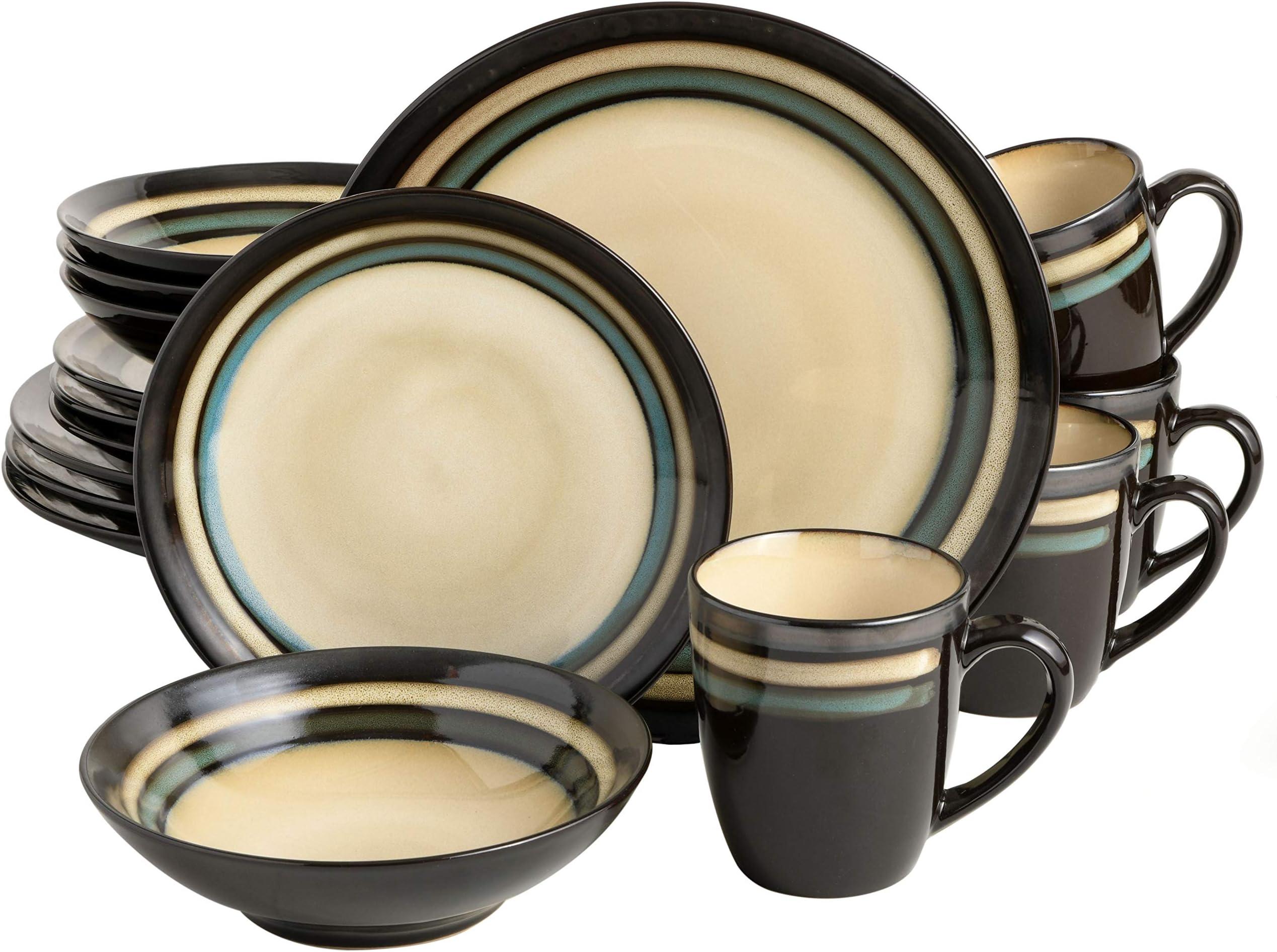 Set of 4 Banded Rings Dessert Plates
