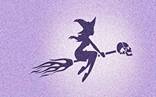 Flying Witch on Skull Broom Stencil Mylar Gothic Witches Halloween Stencils