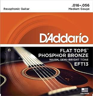 D'Addario EFT13 Flat Tops Phosphor Bronze Acoustic Guitar Strings, Resophonic Guitar, 16-56