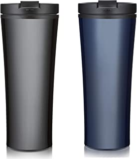 Set of 2 Stainless steel coffee cup Insulated Travel Car Mug | Spill LEAK Proof Flip Lid | Triple Wall Vacuum Insulated Coffee & Tea mug Keeps Hot or Cold | 16 oz | leak free | great for travel.